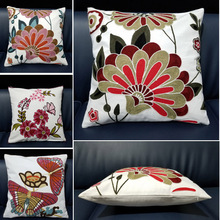 Cotton Embroidery Flower Pattern Pillowcase 45*45cm Cushion Cover Cojines Decorativos Sofa Butterfly Home Decorative Pillows