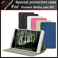 Ultra fino pu leather case capa para huawei mediapad m3 btv-w09 btv-dl09, huawei m3 8.4 tablet caso + 3 presente