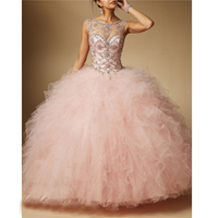 Scoop Tulle Beading Tiered Crystals Lace Up Appliques vestidos 2019 quinceanera dresses ball gown