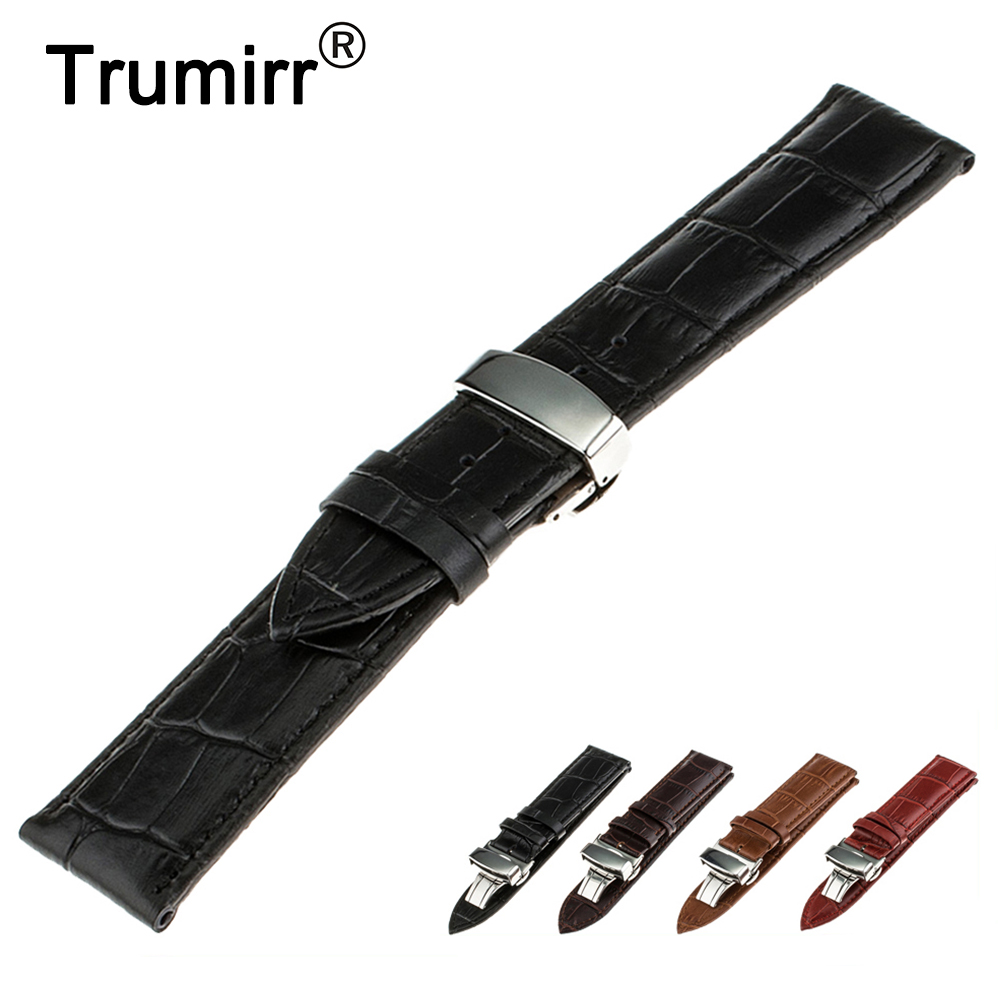 16mm 18mm 20mm 22mm 24mm Genuine Leather Watch Band for Cartier Stainless Steel Butterfly Buckle Strap Wrist Belt Bracelet curved end stainless steel watch band for breitling iwc tag heuer butterfly buckle strap wrist belt bracelet 18mm 20mm 22mm 24mm page 3