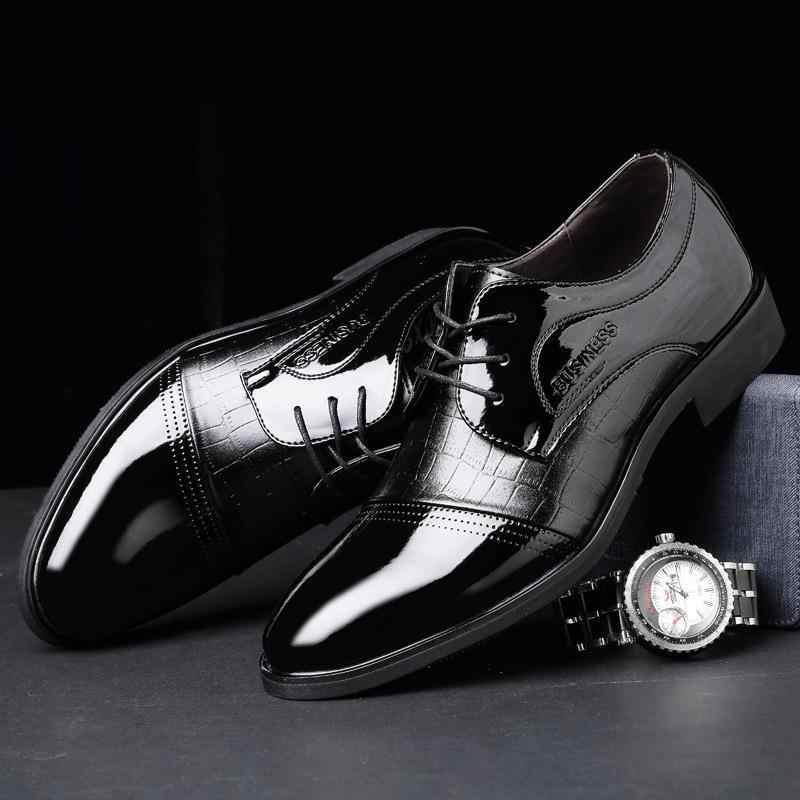 REETENE Novo Homens de Negócios Oxford Sapatos de Couro Rendas Até Sapatos Formais Homens Sapatos Homens Apontou Dedo Do Pé Sapatas de Vestido Para O Casamento tamanho 38-48