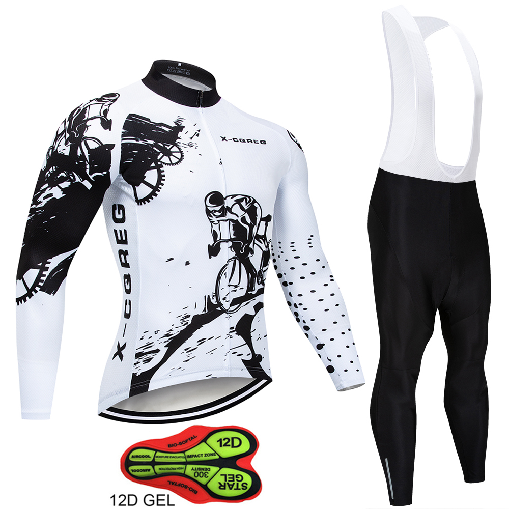2019 Hot Pro Team Long Sleeve Cycling Jersey Set Bib Pants Ropa Ciclismo Bicycle Clothing MTB Bike Jersey Uniform Men Clothes