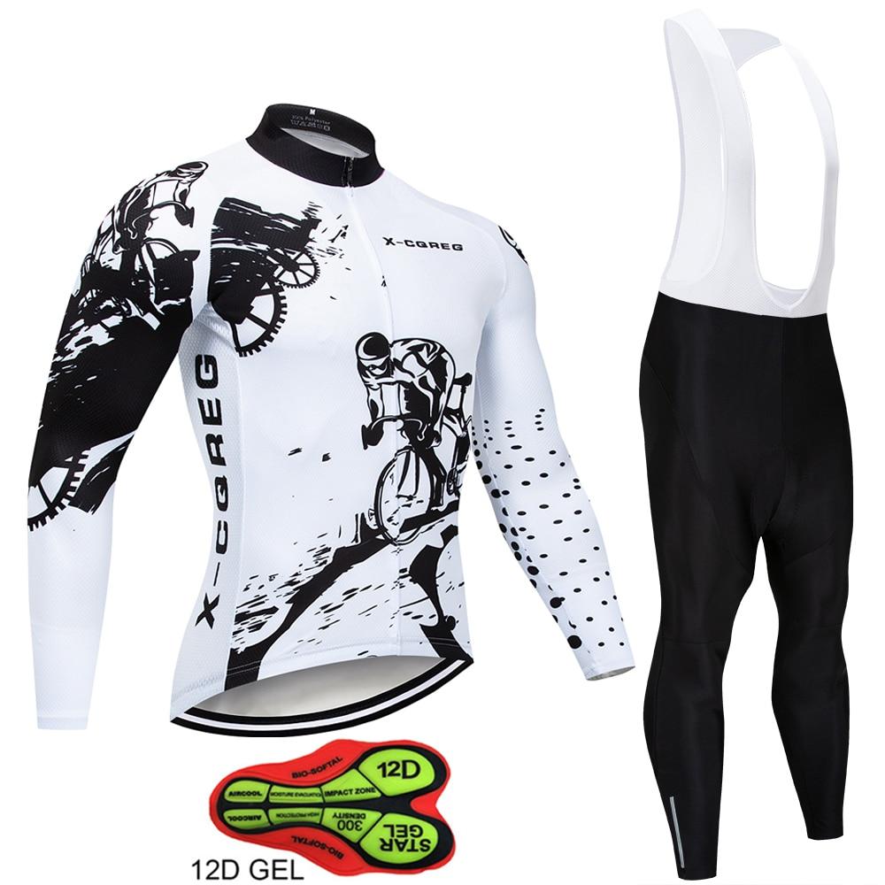 2019 Hot Pro Team Long Sleeve Cycling Jersey Set Bib Pants Ropa Ciclismo Bicycle Clothing MTB Bike Jersey Uniform Men Clothes