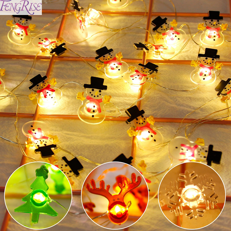 FENGRISE Snowman Elk Garland Mini Light String Merry Christmas Decor For Home 2019 Ornaments New Year