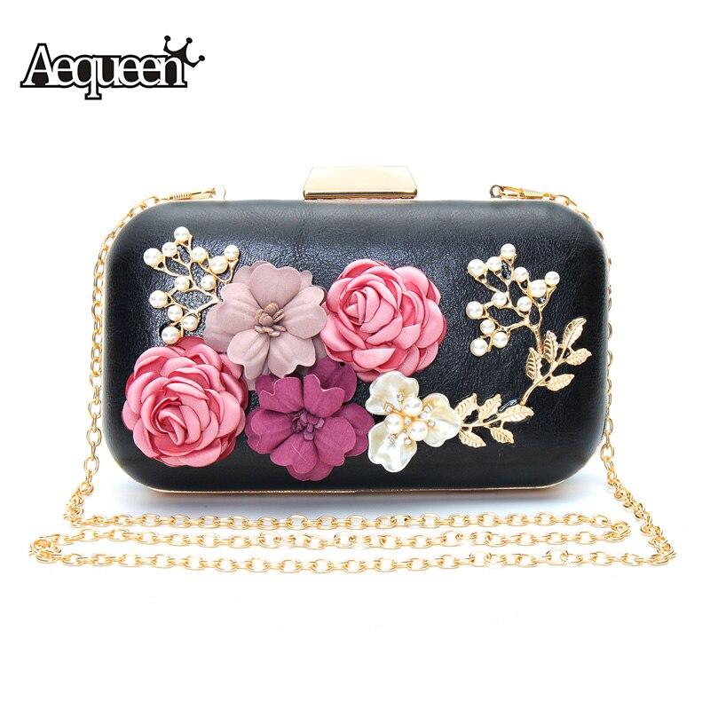 Aequeen bolsos de fiesta de las mujeres elegantes flores perlas de noche bolsas