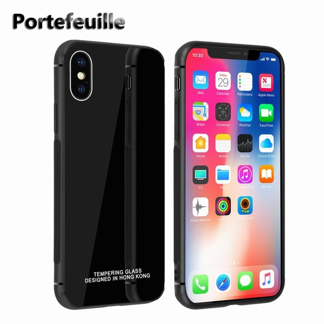 0adf080a5b7 Portefeuille For iPhone X Case Ultra Thin Tempered Glass Back Cover Case  TPU Soft Frame Cover for Apple iPhone 8 Plus 7 6 6S 10