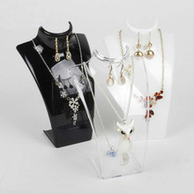 Fashion 10pcs/lot Black White Transparent Acrylic Both Necklace Display Earrings Shelf Stand Holder Jewelry
