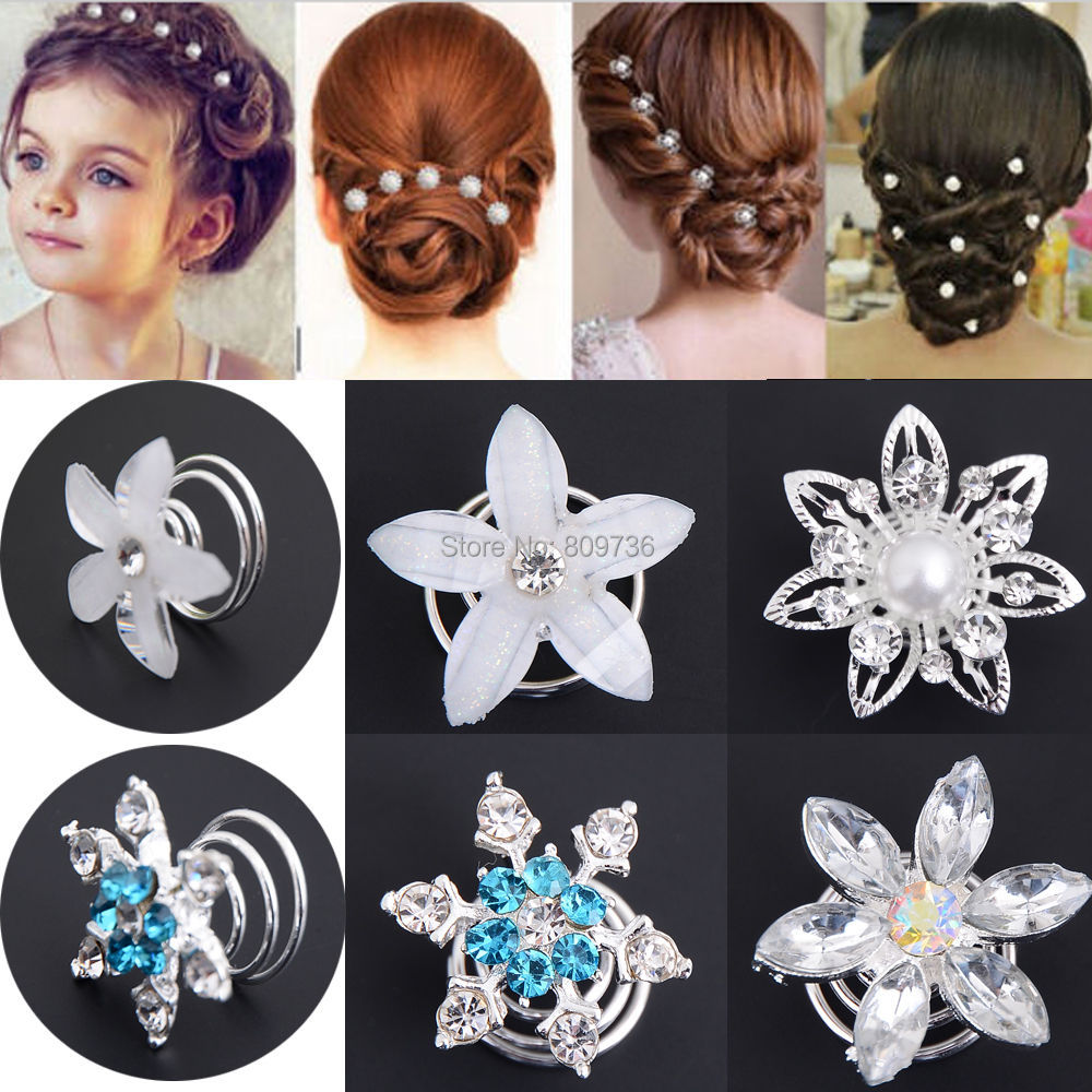 12pcs Lots Wedding Bridal Crystal Flower Twist Spiral Hair Pins Clips Hairpins