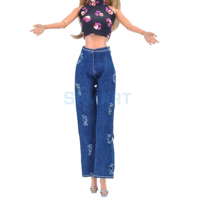 49b4ffcb8da Clothes For Barbie Doll Bare Midriff Suit Tops Shirt Camisole Ripped Denim  Trouser Jeans Dress Costume Clothing