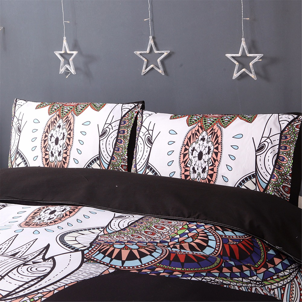Fuya 3 Pieces 3d Elephant Black Bedding Set Bohemia King Duvet Cover