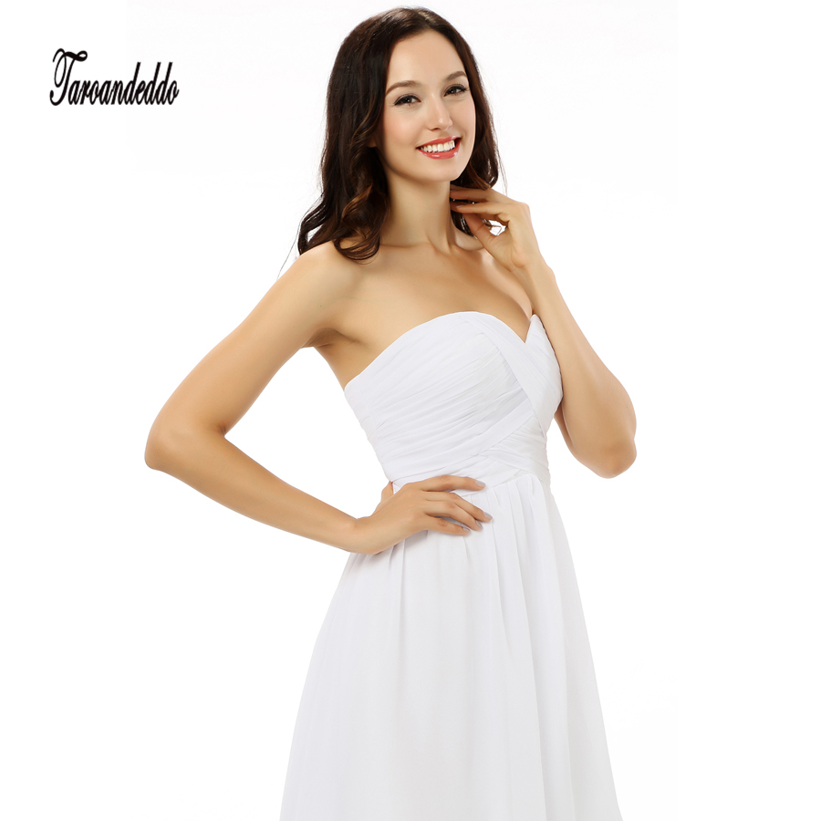 1be0255e72d Strapless Crisscross Ruched Bodice White Chiffon Short Bridesmaid Dresses  Under 50usd -in Bridesmaid Dresses from Weddings   Events on Aliexpress.com  ...