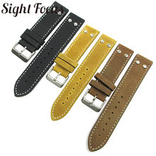 Watchband for Hamilton Aviation Khaki Field 20mm 22mm Crazy Horse Leather Strap Black Belts Watch Bands for Breitling Men Pilot(China)