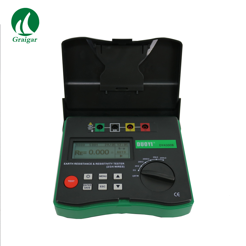 Digital DY4300B 4 Terminal Earth Ground Soil Resistivity Tester Measures Frequency 400 500Hz