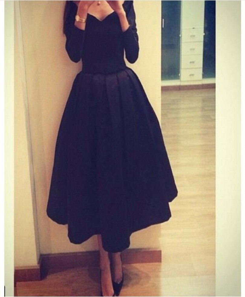 Black 2016 Evening Dress With Long Sleeves Taffeta Arabic