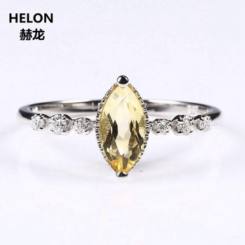 Solid 14k White Gold 4x8mm Marquise Cut Natural Citrine Wedding Ring Classical SI/H Real Diamonds Women Engagement Fine Jewelry