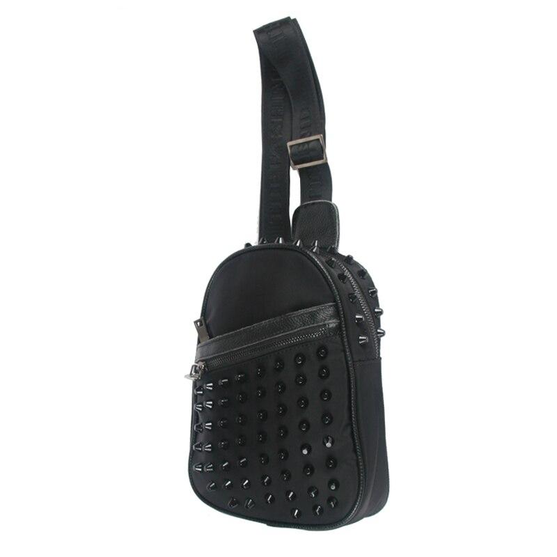 ФОТО Unique Chest Bag Premium Nylon Bag For Women Waterproof Black Shoulder Bag Back Pack High Quality Rivet Women Bag Free Shiping