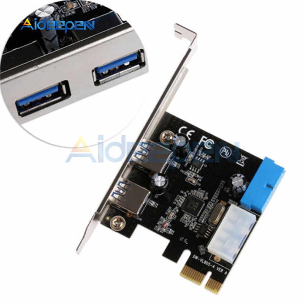 PCI التوسع بطاقة محول الخارجية 2 ميناء USB 3.0 Hub الداخلية 20 دبوس بطاقة التحكم محول 5 جيجابايت في الثانية سرعة 4pin IDE موصل الطاقة