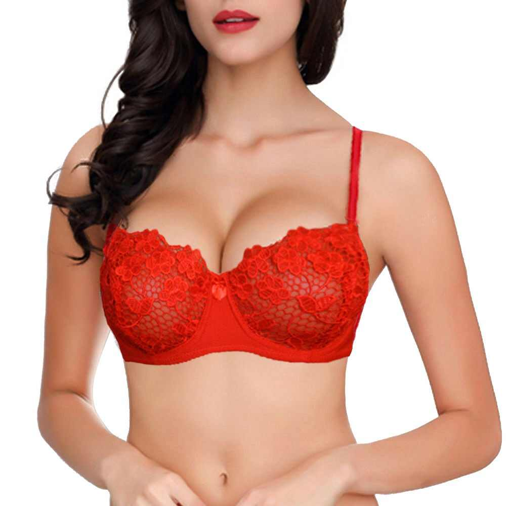 YANDW Big Red Floral Mesh Lace Bralette Bras Women Sexy Lingerie Plunge Thin Push Up Transparent 32 34 36 38 40 42 44 A B C D