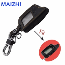 Leather Car Styling Key Cover Case For Tomahawk TW9010 Two Way Alarm System LCD Remote Controller Car Alarm Keychain Key Bag