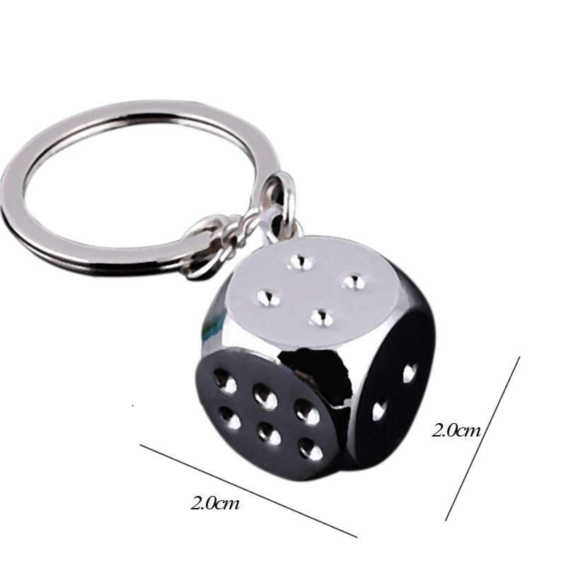 Wholesale 10pcs/lot Fashion Jewelry Quality metal sieve shining dice keychain lucky baby carrying small sieve gift keychain with a dice in metal