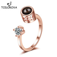 Todorova New 100 Languages I Love You Projection Rings for Women Girls Fashion Valentines Gift Wedding Jewelry Dropshipping