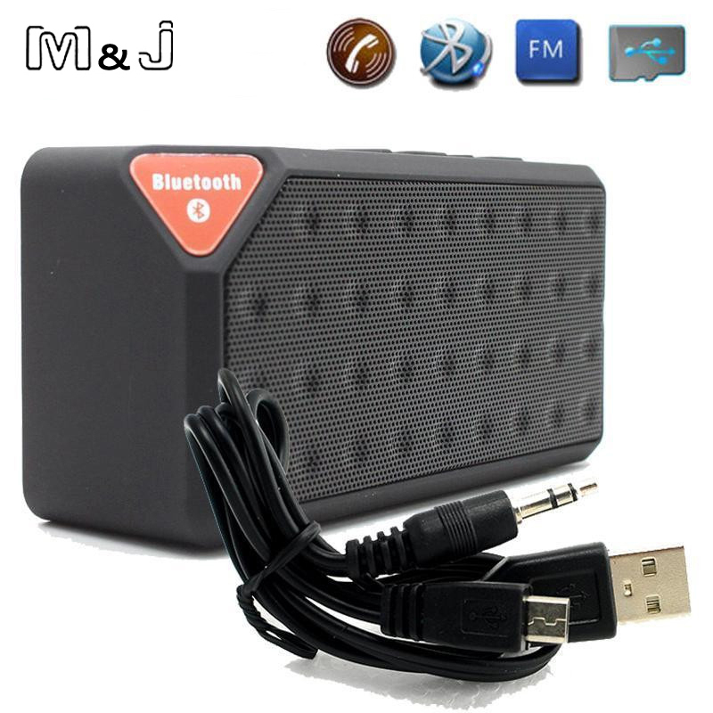 M&J Mini Bluetooth Speaker X3 TF USB FM Radio Wireless Portable Music Sound Box Subwoofer Loudspeakers With Mic For Phone PC sardine b1 portable led display wireless bluetooth hands free stereo speaker subwoofer sound box music player with mic fm radio