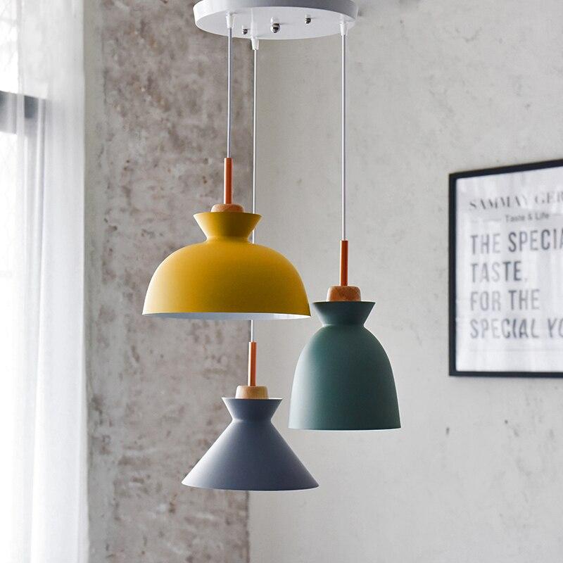 Fashion Indoor lighting pendant lights Wood and aluminum lamp restaurant bar coffee dining room LED hanging light fixture
