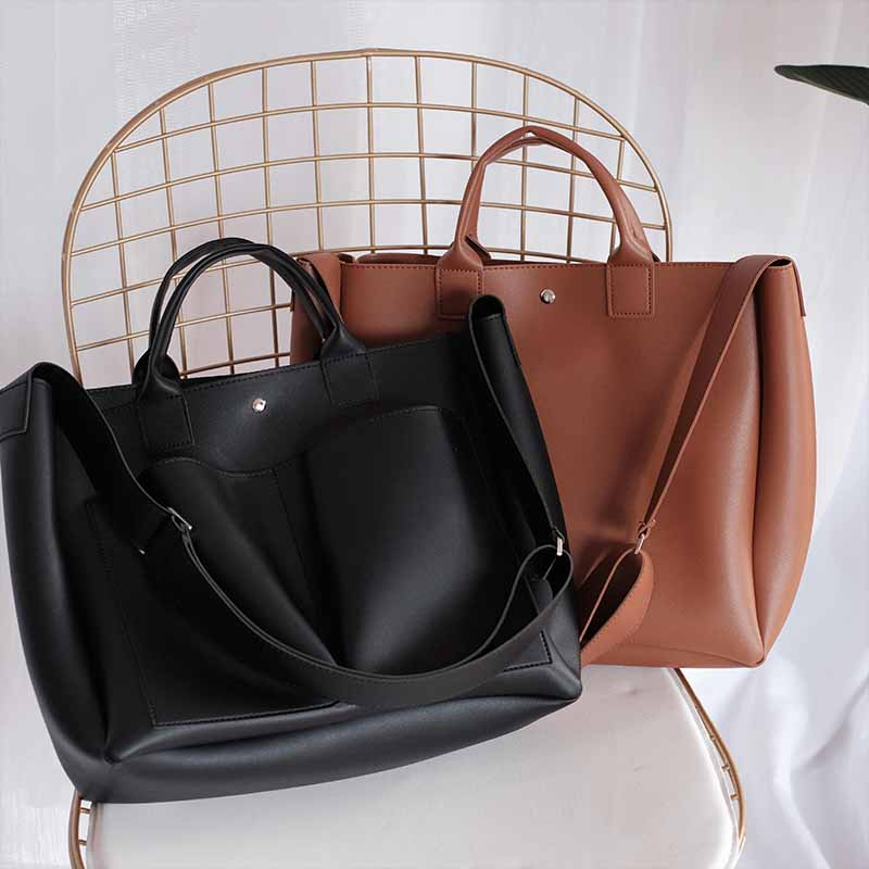 Image 4 - Large Capacity Vintage Shoulder Bags for Women 2018 Pu Leather Handbags High Quality Retro Shopper Casual Totes Gift Sac a main-in Shoulder Bags from Luggage & Bags
