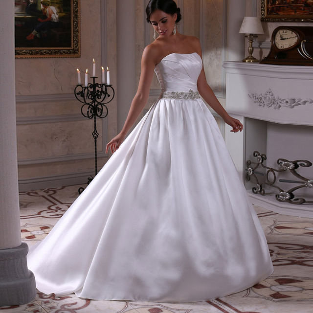 vestidos novias white wedding dress with crystal sash robe de