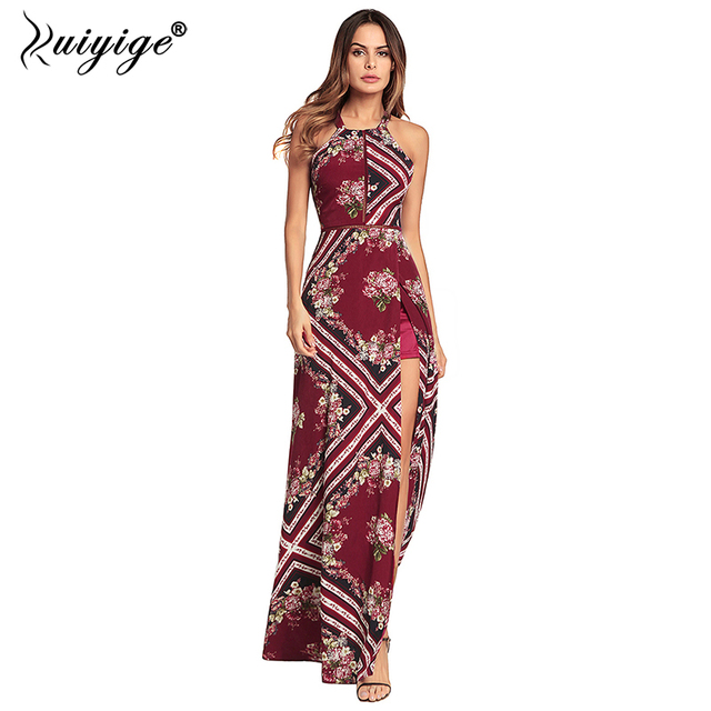 ff27cb513a Ruiyige Women Summer Dress Halter Backless Floral Print Maxi Dress Sexy  Hollow Out Boho 2018 High Split Party Long Beach Vestido