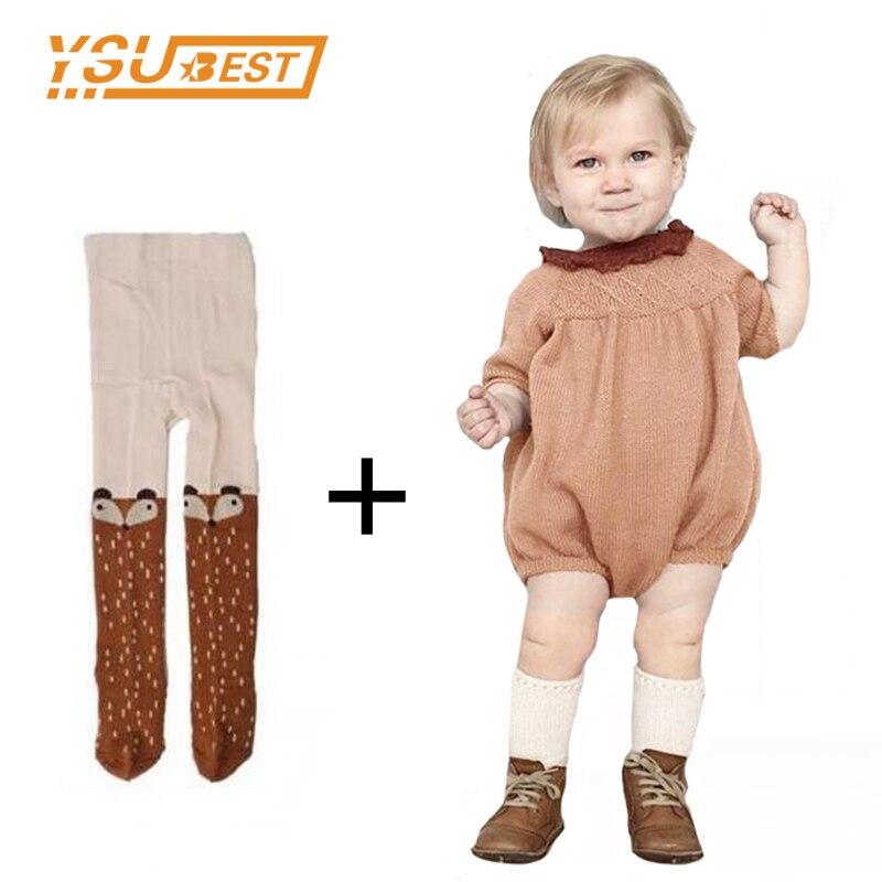 2017 otoño manga larga bebé niña Romper Vestido de punto 0-5 años de punto bebé mamelucos algodón niños ropa niños monos