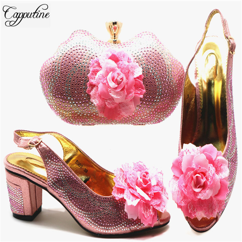 Moyens Strass dark Femme rose Italien À Sacs Chaussures Et Ciel Décoré Red Style Ensemble Pu or Avec Pour La De Nigérian Chaude Talons Partie G67 argent qXw6gp