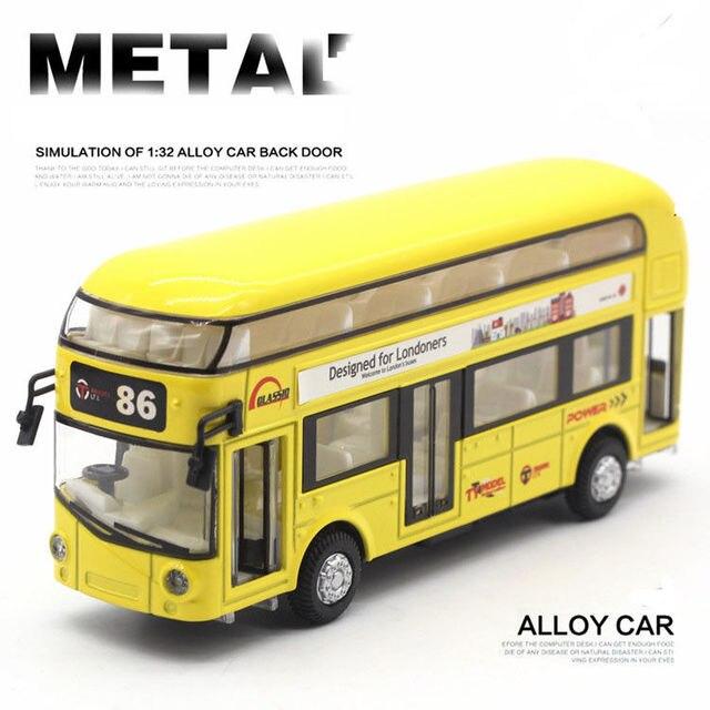 Sound Light 1:32 Metal Double-Decker Tour London City Bus Pull Back Car Kid Toy