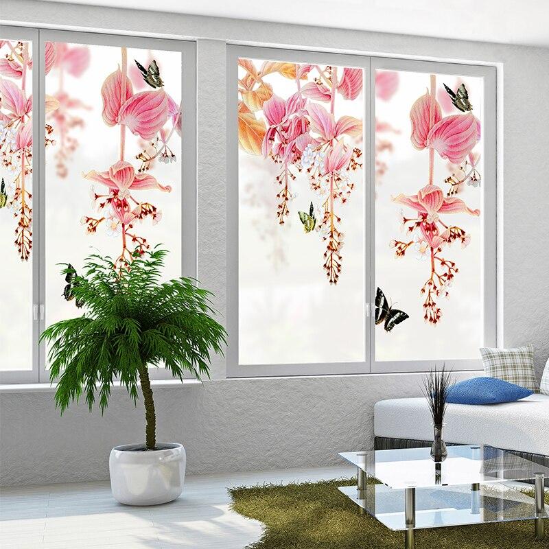 Wohnkultur Dekor-folien Sand Malerei Blume Muster Frosted Opaque Glas Film Bad Wohnzimmer Schlafzimmer Balkon Tür Fenster Film