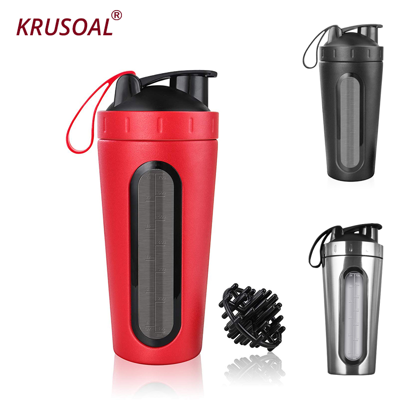 700ml Protein Shaker Stainless Steel Water Bottle Outdoor Gym Sports Fitness Training Drink Powder Milk Mixer My Water Bottles