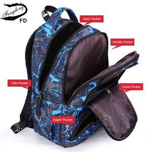 Image 4 - Fengdong grand sac à dos étanche pour enfants, ensemble de 3 pièces de sacs de lycée pour garçons, sac à bandoulière pour étudiants, stylo porte crayon