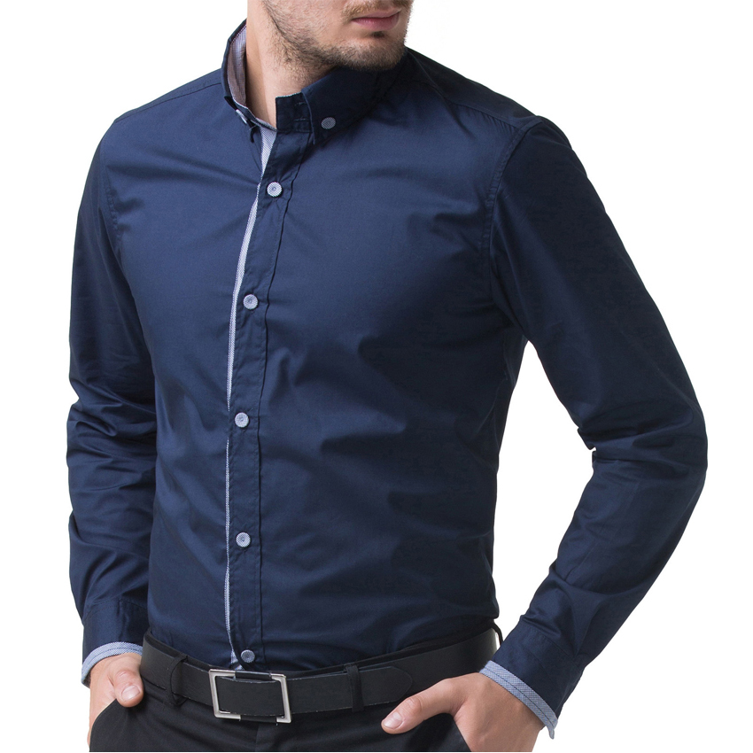 2017 Long Sleeve Navy Blue/Wine Red Chemise Homme Men Casual Slim ...
