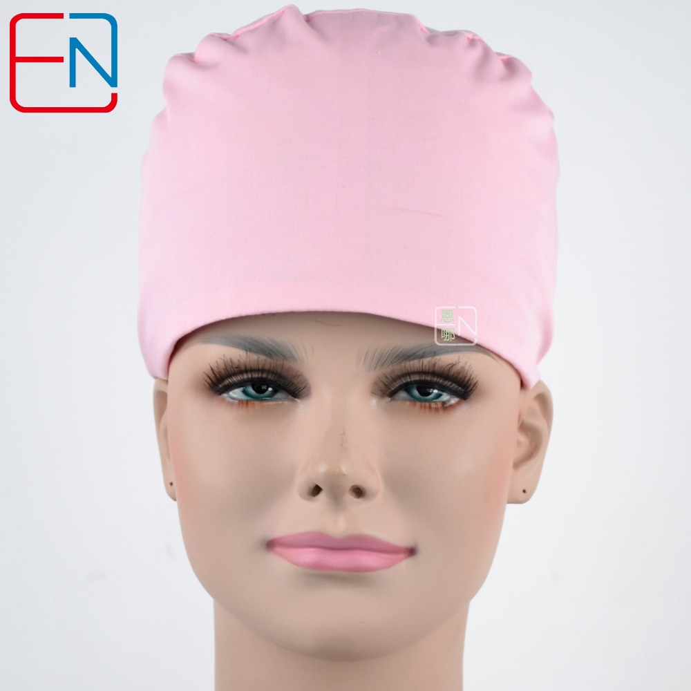 Hennar Medical Surgical Caps . Women Cotton Pet Doctor Scrub Caps Pink Solid T/C Adjustable Women's Medical Hats Mask