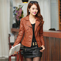New Spring Women's Leather Fashion Turn Down Collar Zipper Long Sleeve Motorcycle PU Leather Jacket Women Jacket P18