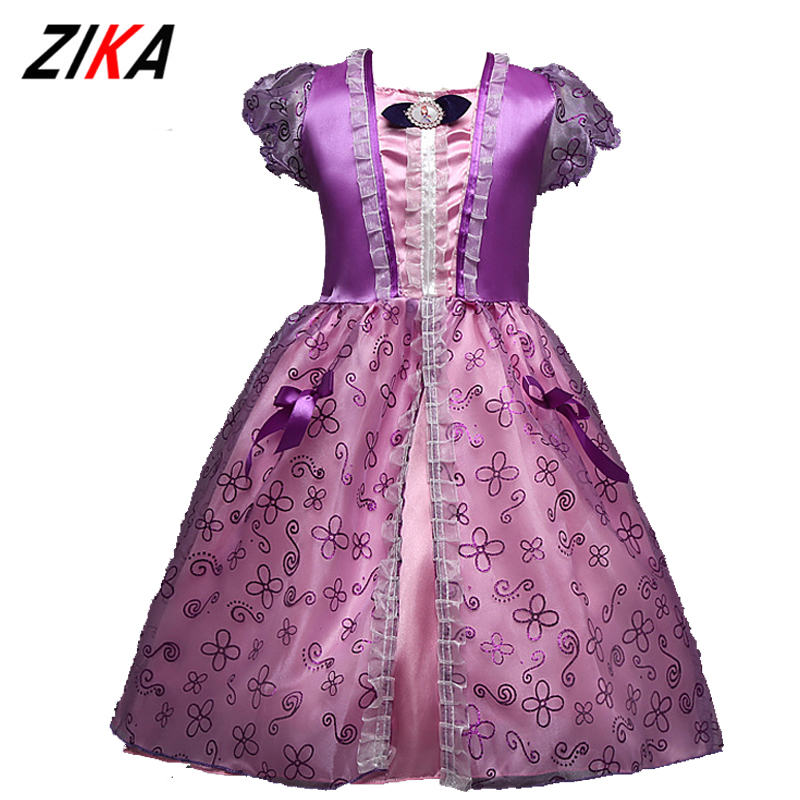 ZiKa 2017Fashion Princess Sofia Dress 3-8 Years Baby Girl Princesa Sophia Costume For Party  Christmas Short Sleeve Tutu Dresses black hydraulic buffered rail track three drawer slide drawer slide ball bearing slide rail damping