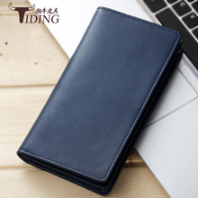 2017 Luxury Brand Men Wallets Long Men Purse Wallet Male Clutch genuine Leather Zipper Wallet Men Business Male blue Wallet Coin