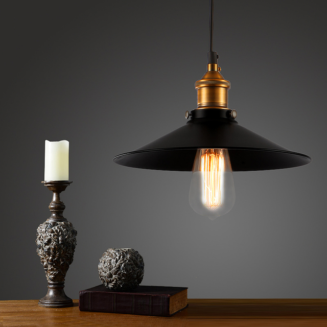 old bronze vintage bar pendant lamp edison retro lamp Black Shade