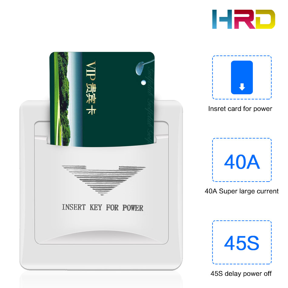 White Gold Any Card Switch Hotel Guest Room Key Card Switch Insert Any Card To Take Power 125KHz 13.56MHz Optional 180~220V 40A
