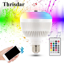 Thrisdar E27 Smart RGBW Bluetooth Speaker Bulbs Audio Music Playing Dimmable RGB LED Music Bulb Light Lamp with Remote Control
