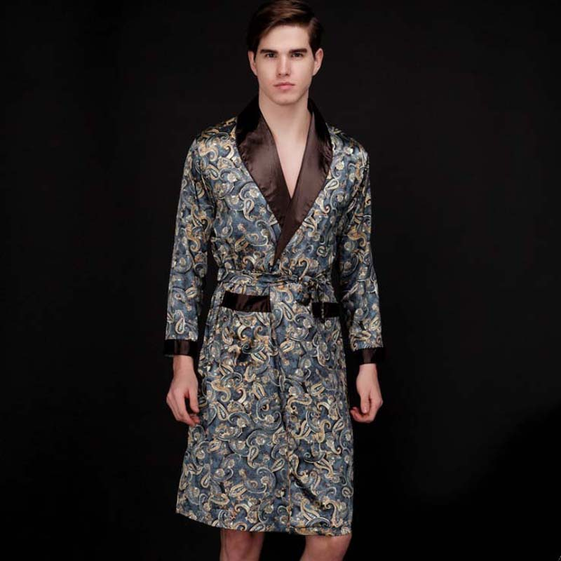 Top Grade Chinese Men's Silk Bathrobe Nightwear Yukata Kaftan Robe Gown With Belt L XL XXL 16040902