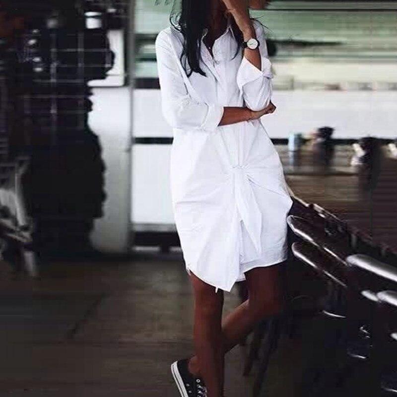 Décontracté été blanc col rabattu à manches longues lâche Blouse nouvelle mode à lacets femmes Top