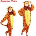 Traje adulto jumping tigger onesie pyjamas cosplay fancy dress cosplay macacões romper onesies superstar cidade