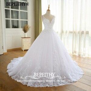Image 4 - Superbe robe De bal robe De mariée avec dentelle Vestido De Novia Princesa Vintage robes De mariée Image réelle robe De mariée 2020