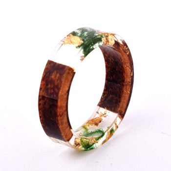 Handmade Flowers Wood Resin Ring29