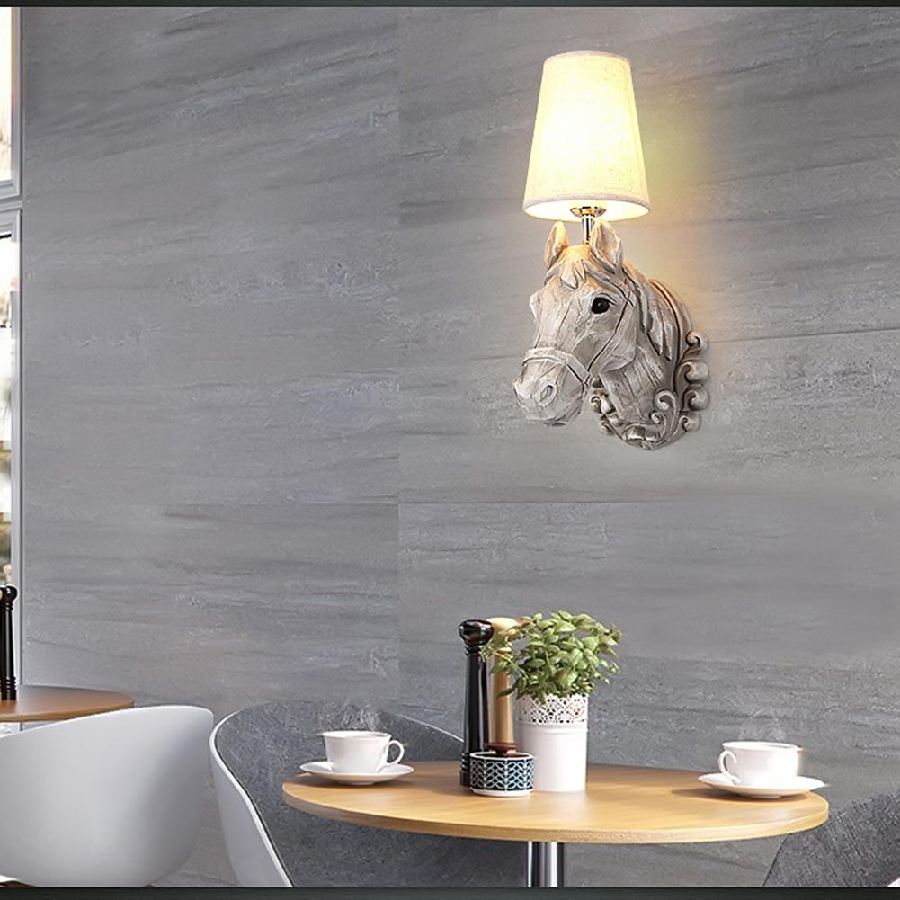 Wall Sconces Equestrian: ₪Modern Wall Lamps Resin Horse ⊰ Head Head Creative Wall